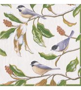 Chickadee And Magnolia Ivory Caspari Servetter